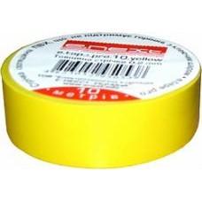 Изолента e.tape.pro.10.yellow из самозатухающего ПВХ, желтая (10м)