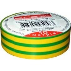 Изолента e.tape.pro.10.yellow-green из самозатухающего ПВХ, желто-зелена (10м)