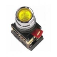 Желтая кнопка с подсветкой ABLF-22 Ø22мм неон/220В 1з+1р IEK