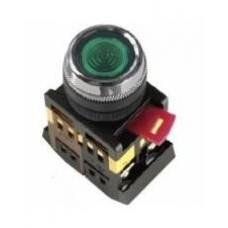 Кнопка ABLF-22 зеленая Ø22мм неон/220В 1з+1р IEK