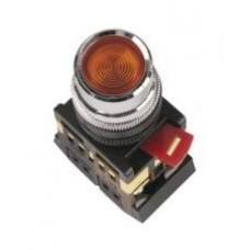Кнопка ABLF-22 красная Ø22мм неон/220В 1з+1р IEK