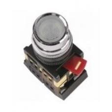 Кнопка ABLF-22 прозрачная Ø22мм неон/220В 1з+1р IEK