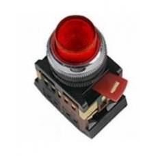 Красная кнопка с подсветкой ABLFP-22 Ø22мм неон/220В 1з+1р IEK