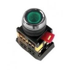 Зеленая кнопка с подсветкой ABLFS-22 Ø22мм неон/220В 1з+1р IEK