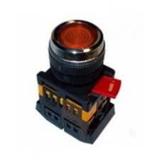 Кнопка BLFS-22 красная Ø22мм неон/220В 1з+1р IEK