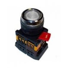 Прозрачная кнопка с подсветкой ABLFS-22 Ø22мм неон/220В 1з+1р IEK