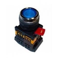 Кнопка ABLFS-22 синяя Ø22мм неон/220В 1з+1р IEK