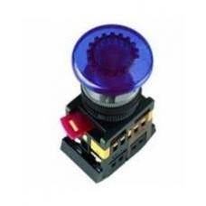 Синяя кнопка с подсветкой AELA22 «Грибок» Ø22мм неон/220В 1з+1р IEK