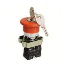 Кнопка LAY5-BS142 «Грибок» с ключом  красная Ø22мм  220В 1з+1р IEK